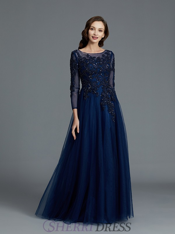 A-Line/Princess Scoop Tulle Long Sleeves Floor-Length Mother of the Bride Dresses