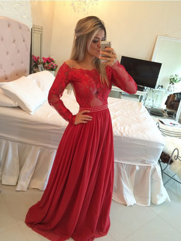 A-Line/Princess Off-the-Shoulder Chiffon Long Sleeves Sweep/Brush Train Dresses