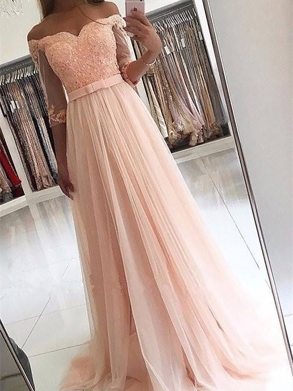 A-Line/Princess Off-the-Shoulder Tulle 3/4 Sleeves Sweep/Brush Train Dresses