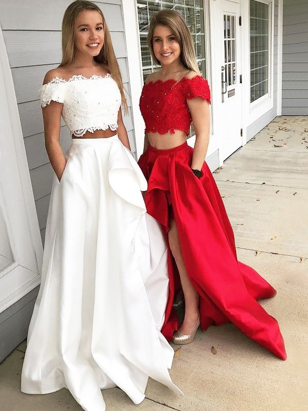 A-Line/Princess Off-the-Shoulder Satin Sleeveless Sweep/Brush Train Two Piece Dresses