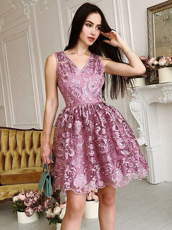 A-Line/Princess V-Neck Organza Sleeveless Short/Mini Dresses