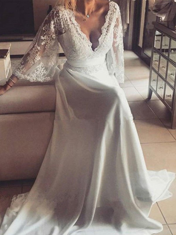 A-Line/Princess V-neck Lace Long Sleeves Court Train Wedding Dresses