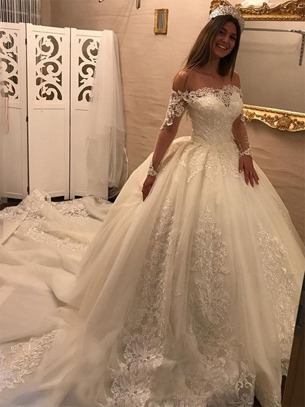 Ball Gown Off-the-Shoulder Tulle Long Sleeves Cathedral Train Wedding Dresses