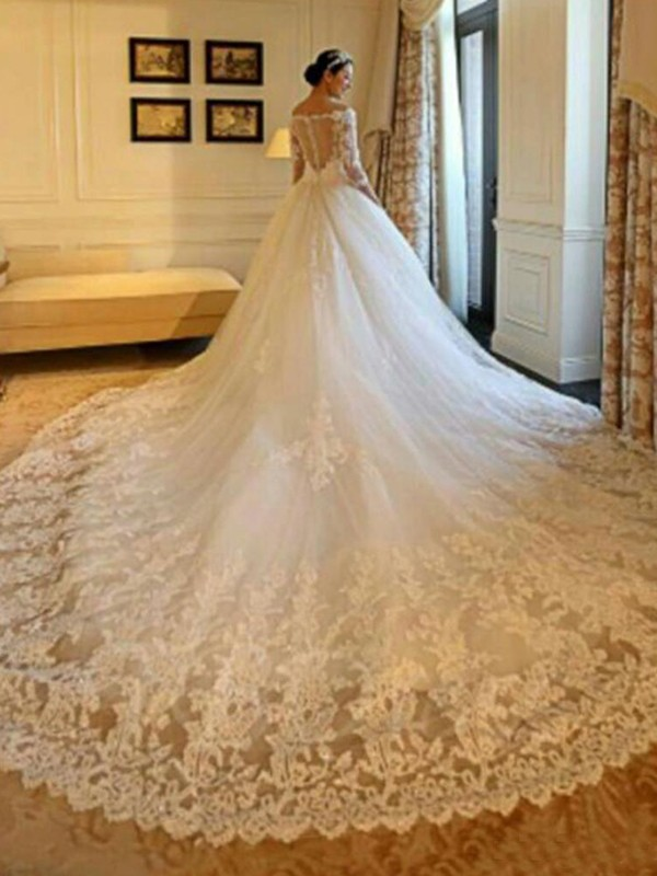 Ball Gown Off-the-Shoulder Tulle 3/4 Sleeves Cathedral Train Wedding Dresses