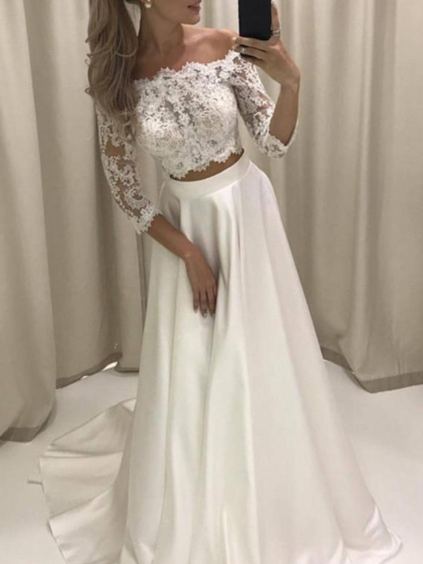 A-Line/Princess Off-the-Shoulder Satin 3/4 Sleeves Court Train Wedding Dresses