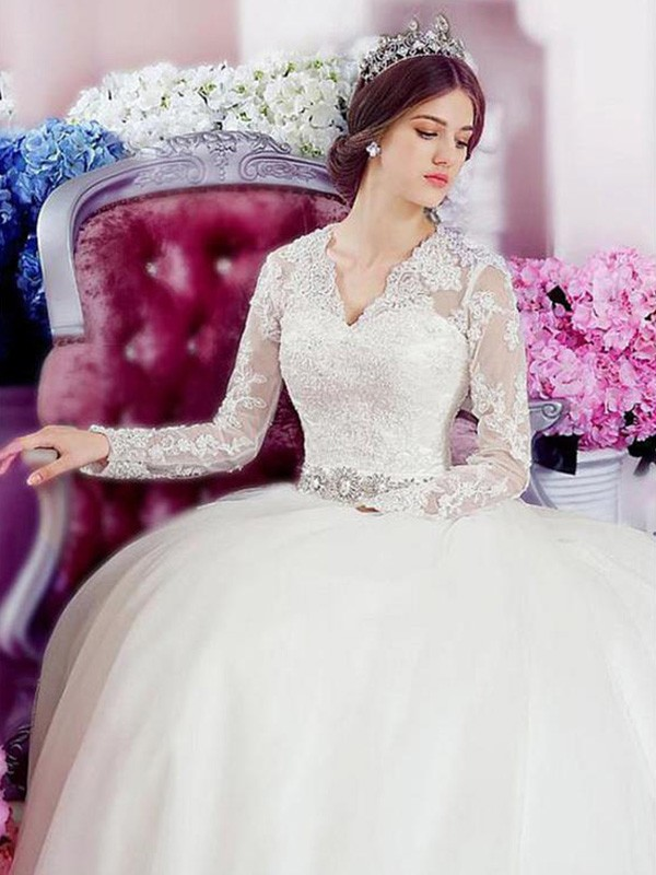 A-Line/Princess V-neck Tulle Long Sleeves Cathedral Train Wedding Dresses