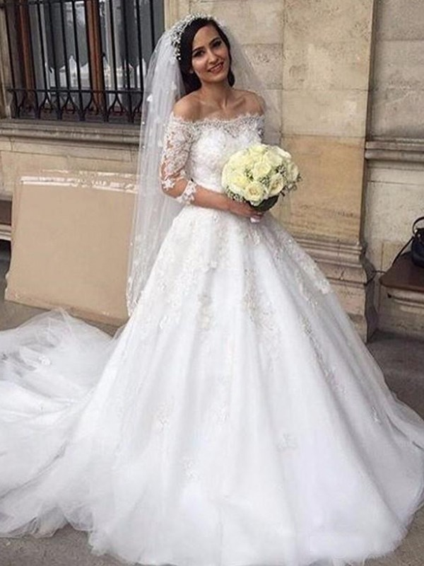 Ball Gown Off-the-Shoulder Tulle 3/4 Sleeves Chapel Train Wedding Dresses