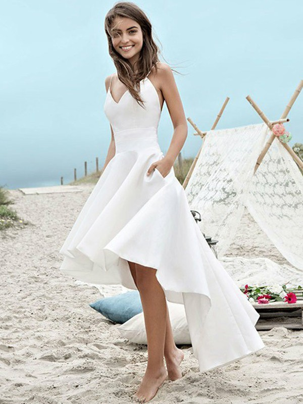 A-Line/Princess Spaghetti Straps Satin Sleeveless Asymmetrical Wedding Dresses