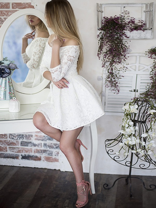 A-Line/Princess Off-the-Shoulder Lace 3/4 Sleeves Short/Mini Dresses