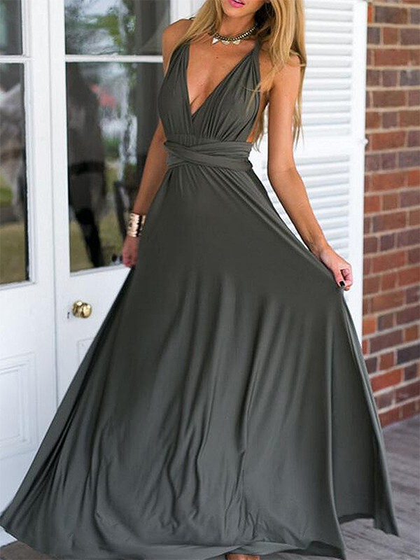 Empire V-neck Chiffon Sleeveless Floor-Length Dresses