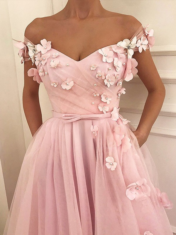 A-Line/Princess Off-the-Shoulder Tulle Sleeveless Floor-Length Dresses