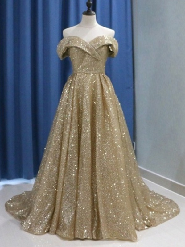 Ball Gown Off-the-Shoulder Sequins Sleeveless Sweep/Brush Train Dresses