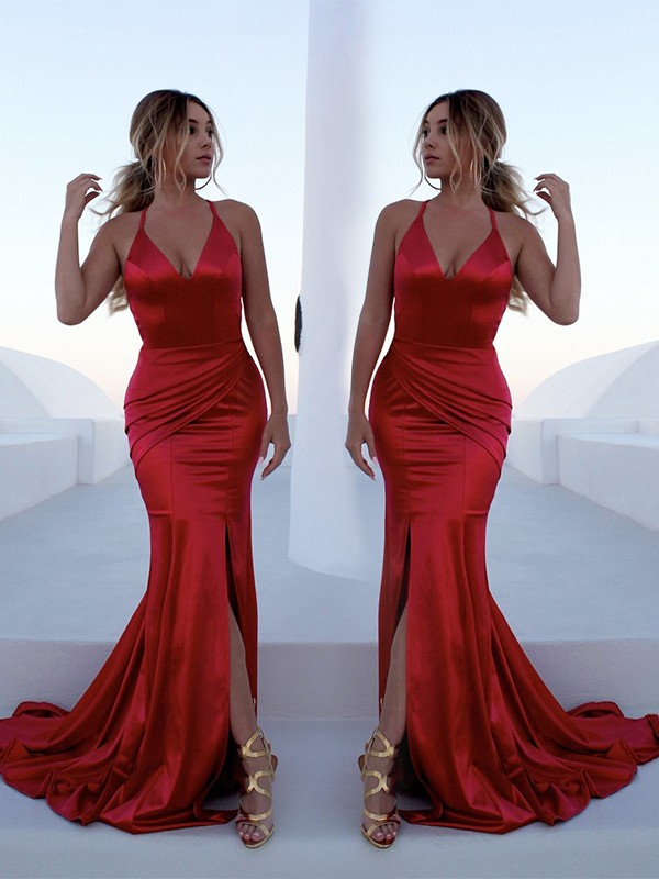 Trumpet/Mermaid Halter Elastic Woven Satin Sleeveless Sweep/Brush Train Dresses