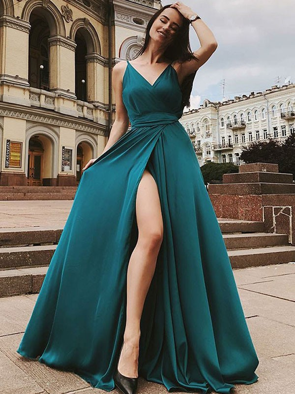 A-Line/Princess Straps Satin Chiffon Sleeveless Sweep/Brush Train Dresses