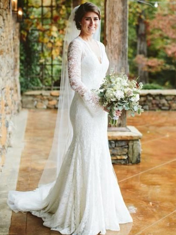 Trumpet/Mermaid V-neck Lace Long Sleeves Sweep/Brush Train Wedding Dresses