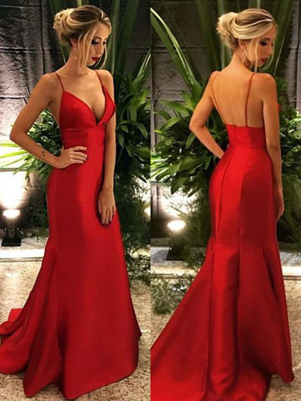 Trumpet/Mermaid Spaghetti Straps Satin Sleeveless Sweep/Brush Train Dresses