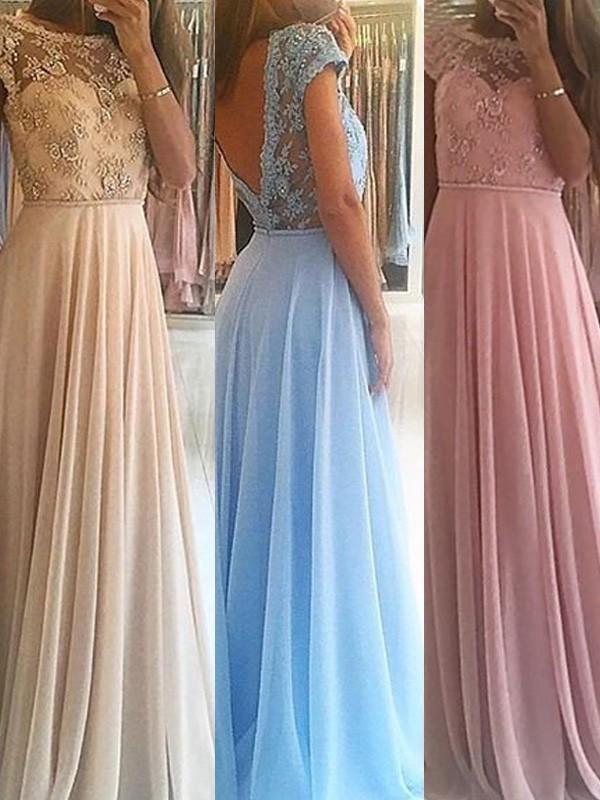 A-Line/Princess Scoop Chiffon Sleeveless Floor-Length Dresses