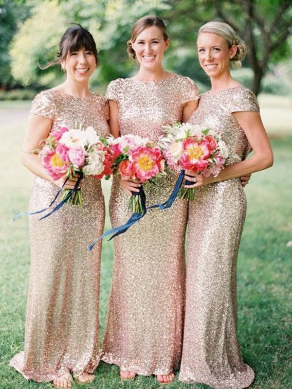 Sheath/Column Bateau Sequins Short Sleeves Floor-Length Bridesmaid Dresses