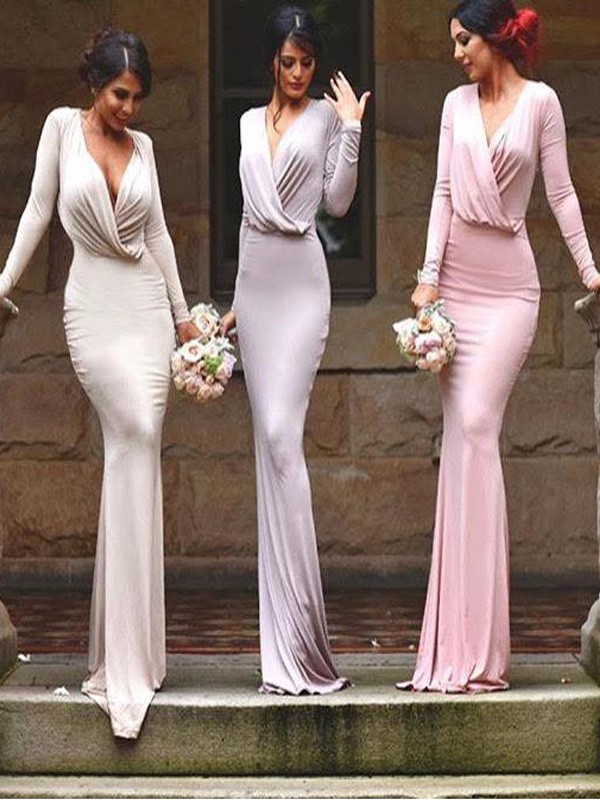 Sheath/Column V-neck Jersey Sleeveless Floor-Length Bridesmaid Dresses