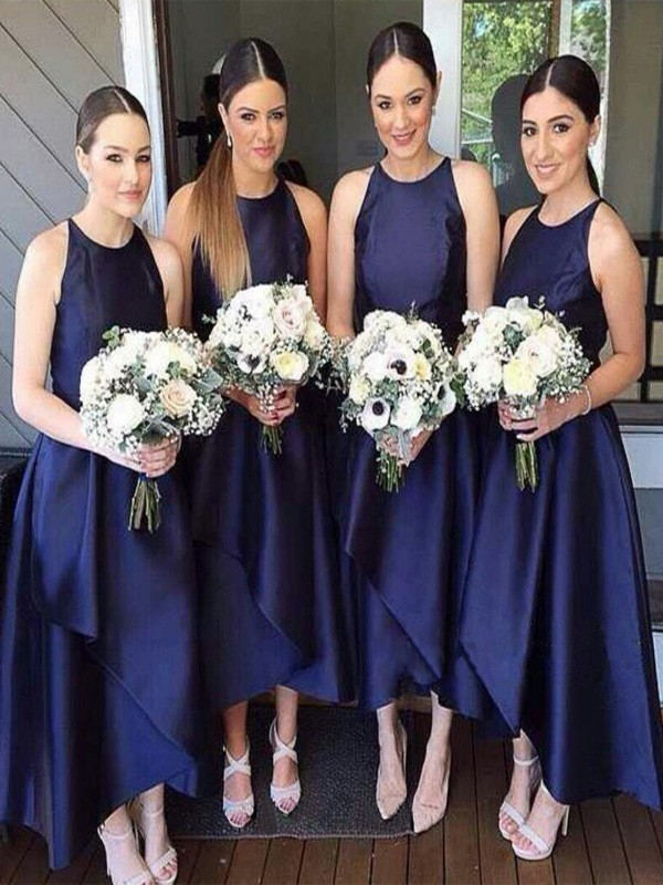 A-Line/Princess Scoop Satin Sleeveless Asymmetrical Bridesmaid Dresses