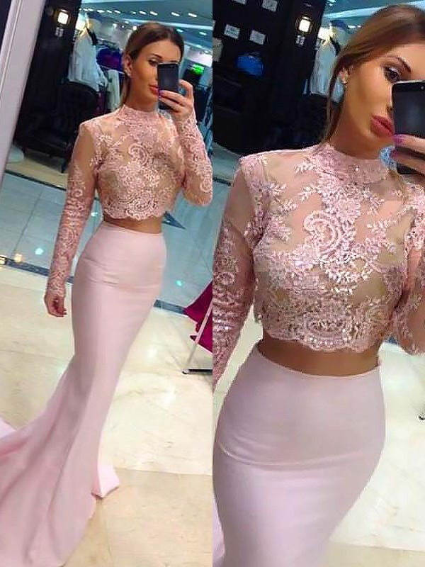 A-Line/Princess High Neck Satin Long Sleeves Sweep/Brush Train Two Piece Dresses