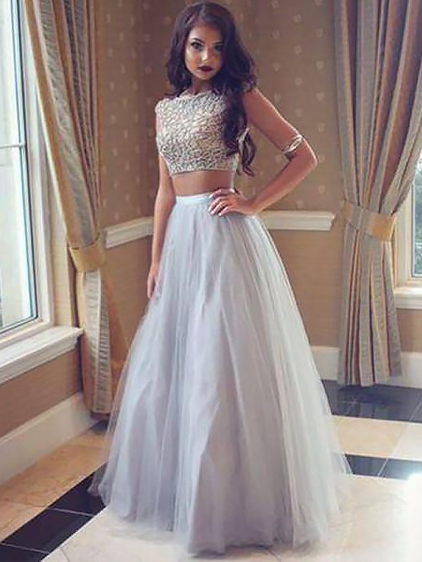 A-Line/Princess Bateau Tulle Sleeveless Floor-Length Two Piece Dresses
