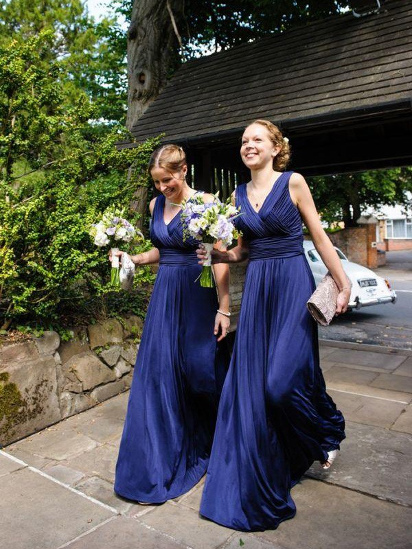 A-Line/Princess Pleats Chiffon Sleeveless Floor-Length Bridesmaid Dresses