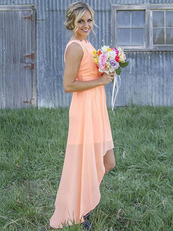 A-Line/Princess Scoop Chiffon Sleeveless Asymmetrical Bridesmaid Dresses
