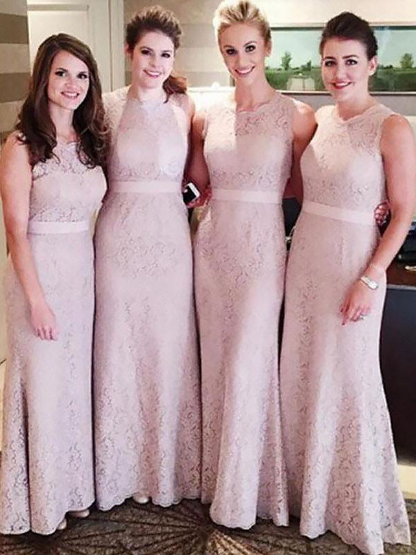 Sheath/Column Scoop Lace Sleeveless Floor-Length Bridesmaid Dresses