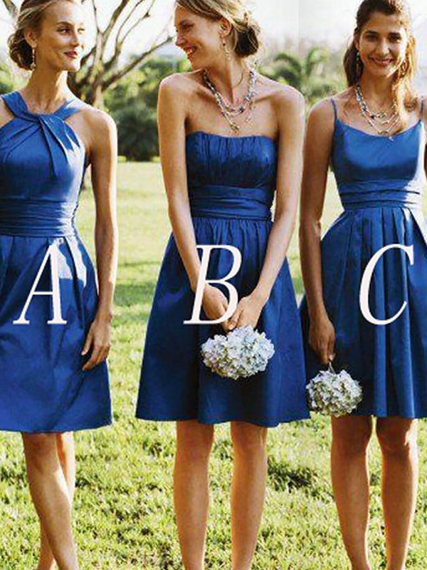 A-Line/Princess Satin Sleeveless Short/Mini Bridesmaid Dresses