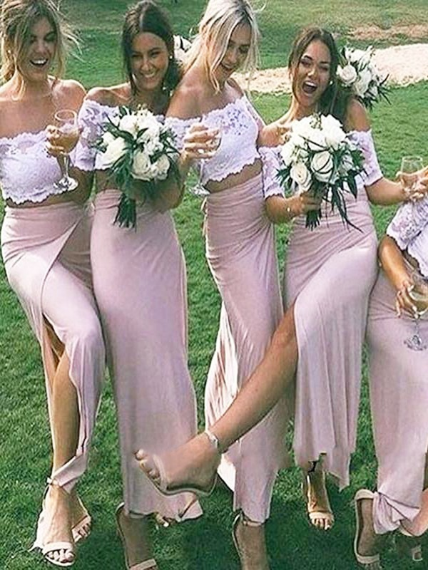 Sheath/Column Off-the-Shoulder Jersey Short Sleeves Floor-Length Bridesmaid Dresses