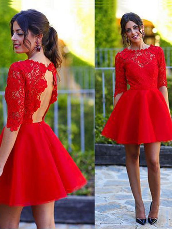 A-line/Princess Scoop Lace 1/2 Sleeves Short/Mini Homecoming Dresses