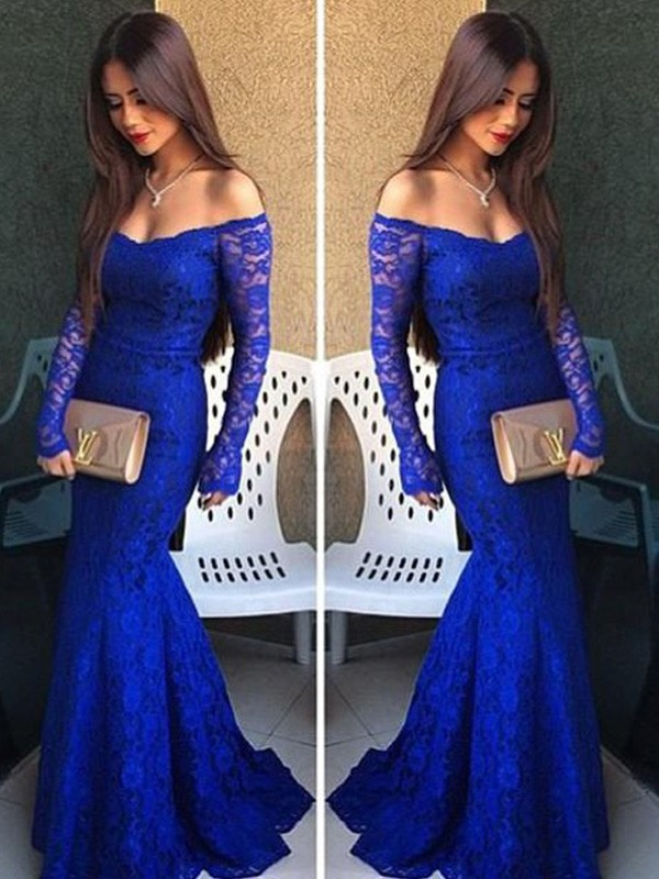 Trumpet/Mermaid Off-the-Shoulder Lace Long Sleeves Floor-Length Prom Dresses
