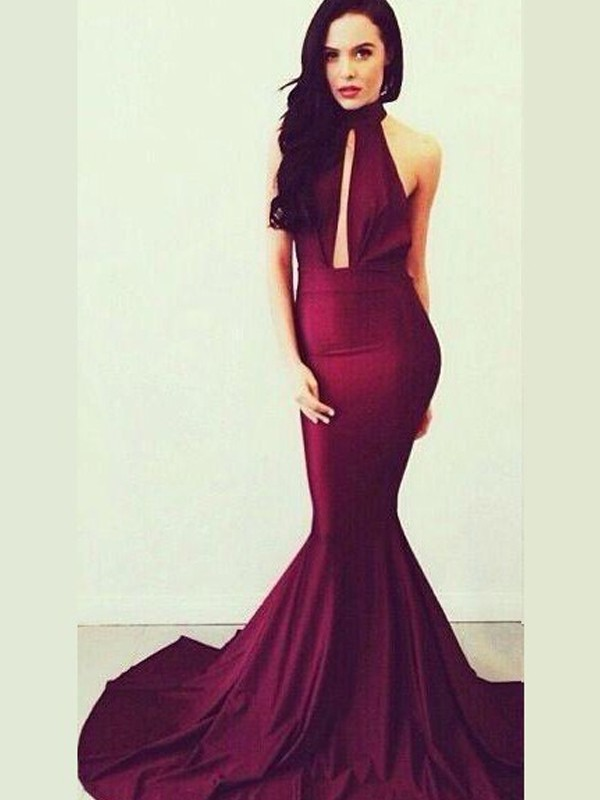 Trumpet/Mermaid High Neck Jersey Sleeveless Floor-Length Prom Dresses