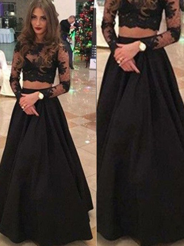 A-Line/Princess Scoop Lace Long Sleeves Floor-Length Two Piece Prom Dresses
