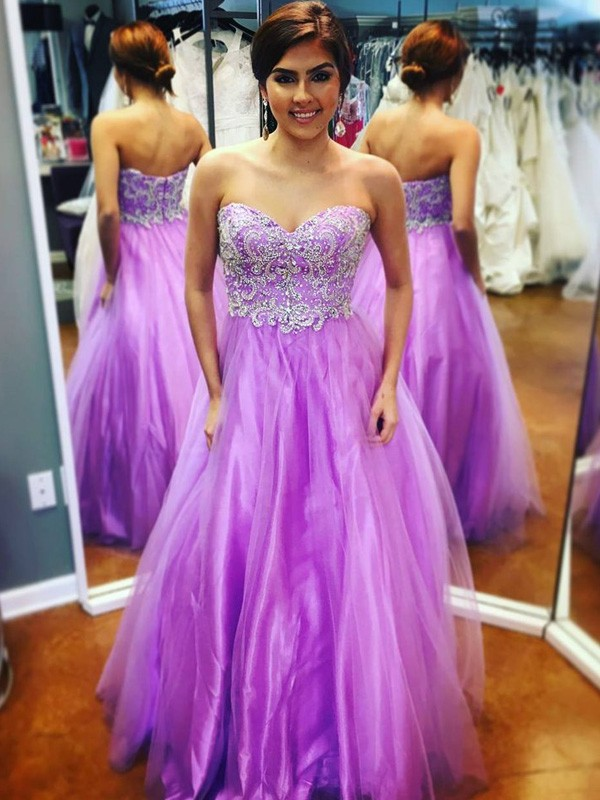 A-Line/Princess Sweetheart Tulle Sleeveless Floor-Length Prom Dresses