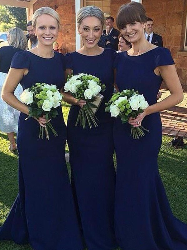 Sheath/Column Scoop Satin Short Sleeves Floor-Length Bridesmaid Dresses