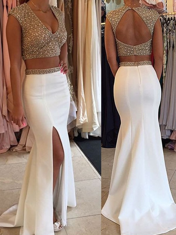 Trumpet/Mermaid V-Neck Satin Sleeveless Sweep/Brush Train Two Piece Prom Dresses