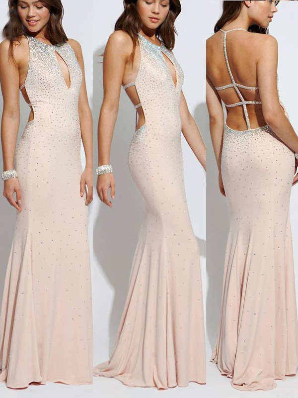 Sheath/Column Halter Jersey Sleeveless Sweep/Brush Train Prom Dresses