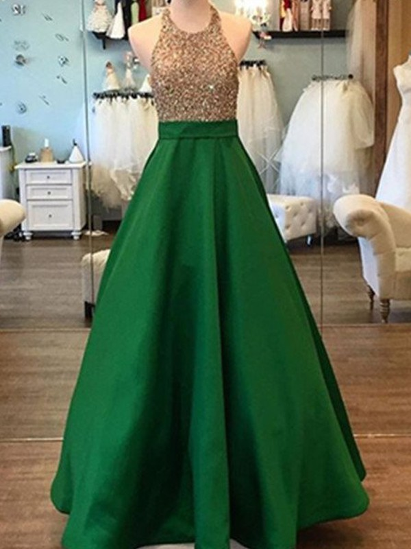 A-Line/Princess Halter Satin Sleeveless Floor-Length Prom Dresses