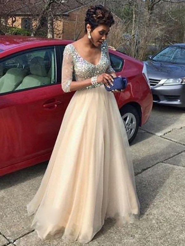 A-Line/Princess V-Neck Tulle Long Sleeves Floor-Length Prom Dresses