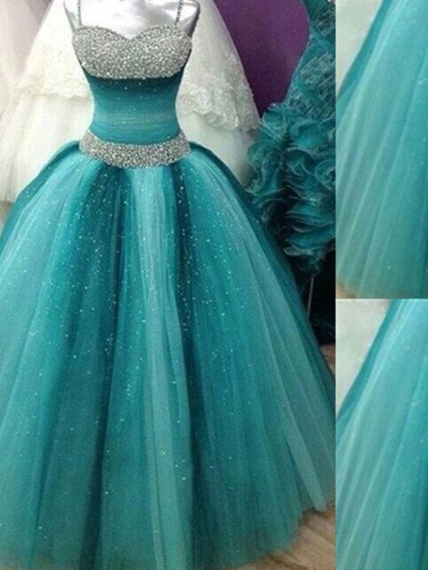 Ball Gown Spaghetti Straps Tulle Sleeveless Floor-Length Prom Dresses