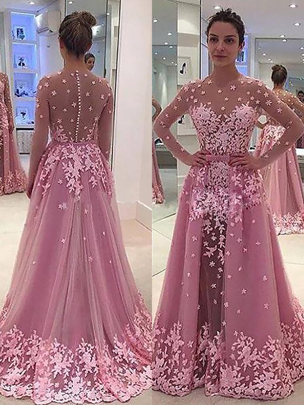 A-Line/Princess Scoop Tulle Long Sleeves Floor-Length Prom Dresses