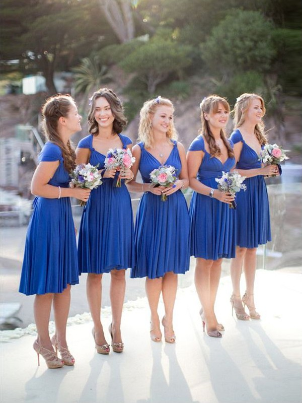 A-Line/Princess V-neck Chiffon Sleeveless Short/Mini Bridesmaid Dresses