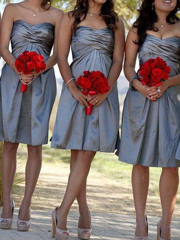Sheath/Column Sweetheart Satin Sleeveless Short/Mini Bridesmaid Dresses