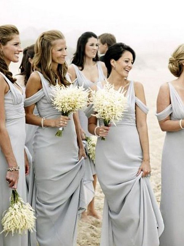 Sheath/Column V-neck Chiffon Sleeveless Floor-Length Bridesmaid Dresses