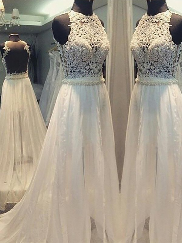 A-Line/Princess Scoop Chiffon Sleeveless Sweep/Brush Train Wedding Dresses