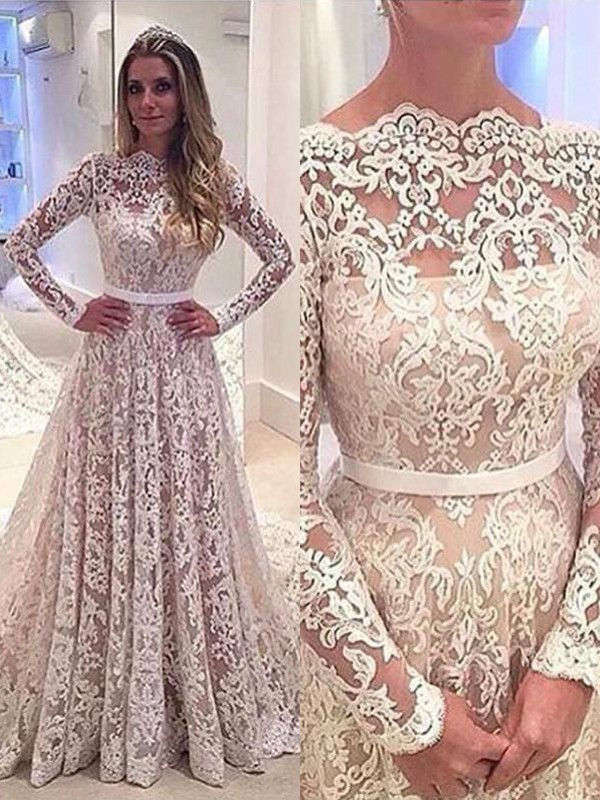 A-Line/Princess Bateau Lace Long Sleeves Court Train Wedding Dresses