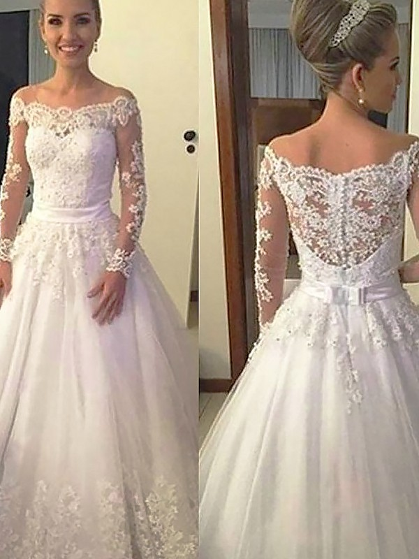 Ball Gown Off-the-Shoulder Tulle Long Sleeves Court Train Wedding Dresses