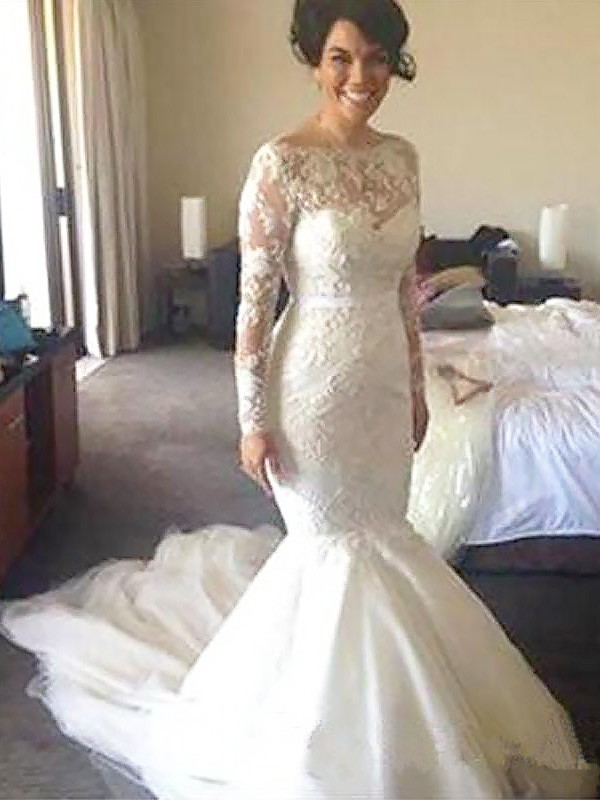 A-Line/Princess Bateau Tulle Long Sleeves Court Train Wedding Dresses